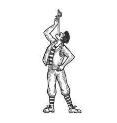 Sword swallowing performer engraving vector