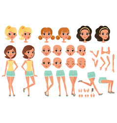 Teenager girl character creation set with various vector