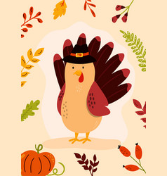 thanksgiving day greeting card with funny turkey vector image