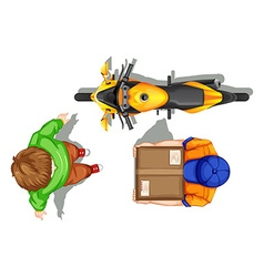 Top view of deliveryman and bike vector