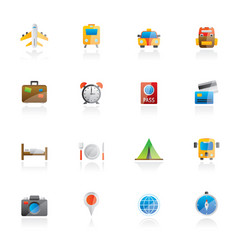 travel trip and transportation icons vector image