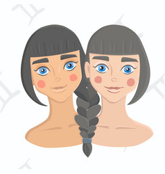 twin girls with hair braided together on vector image