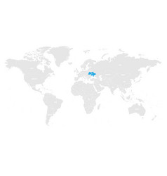 Ukraine marked by blue in grey world political map vector