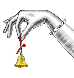 Womans hand ringing retro bell vector