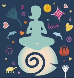 yoga spring elements collection vector image