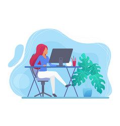 young woman working at home computer flat vector image
