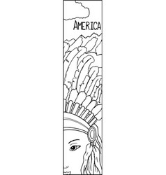 American native indian woman in tribal feather vector