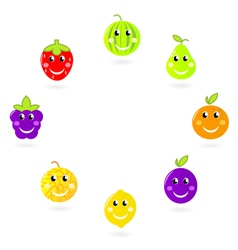 fruit characters - mascots in circle vector image