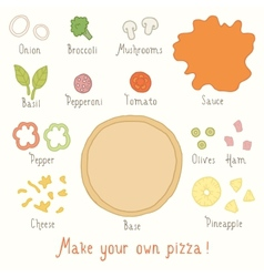 Make you own pizza set vector image