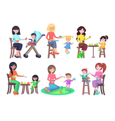 mothers feeding their children icons set on white vector image