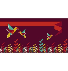 Origami hummingbird group banner vector image