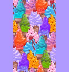 seamless bright texture with cartoon ice cream vector image