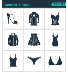 Set of modern icons Women s clothing shoes vector image