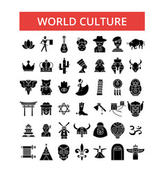 world culture thin line icons vector image