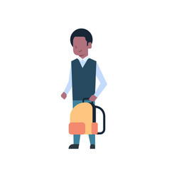 african american school boy holding backpack vector image