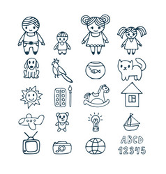 family icons set in doodle style hand drawn vector image vector image