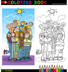Happy Teenagers group for coloring vector image vector image