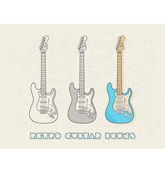 retro wired design guitar icons vector image vector image