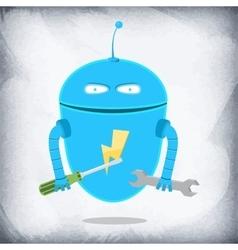 Robot repairman cartoon character vector