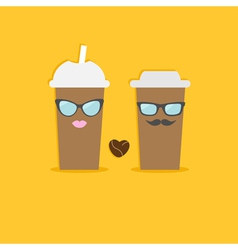 Two disposable coffee paper cups bean heart vector image