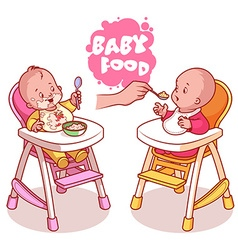Two kids in baby highchair with plate of porridge vector image