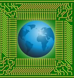 Motherboard globe vector image