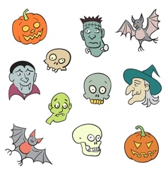 Colorful Halloween Characters Set vector image