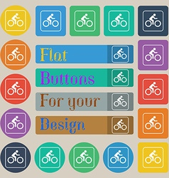Cyclist icon sign Set of twenty colored flat round vector image vector image