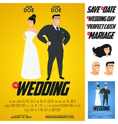 Funny glossy movie poster wedding invitation vector image