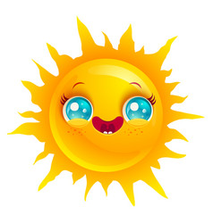 funny sun with smile vector image vector image