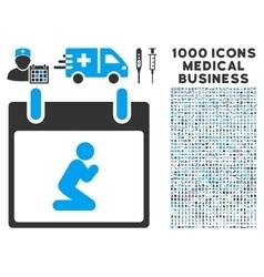 Pray Person Calendar Day Icon With 1000 Medical vector image vector image