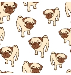 Seamless pattern with hand drawn pug puppies vector image