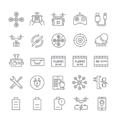 Set Flat Line Icons Drones vector image vector image