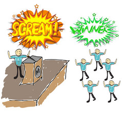 singer singing into a microphone to the audience vector image