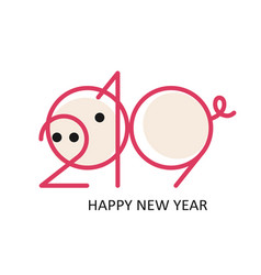 2019 pig new year pink vector