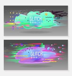Abstract designs in glitch style trendy vector