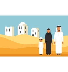 Arabic Family in traditional clothes in desert vector image