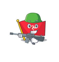 Army flag isle man mascot vector