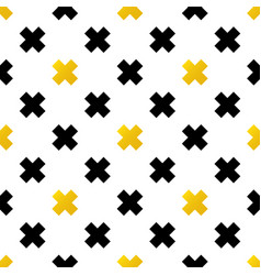 Black and gold crosses geometric seamless pattern vector