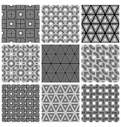Black and white geometric seamless patterns set vector image