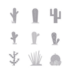 cactus icon set collection exotic plants vector image