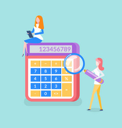 calculator numbers business workers isolated vector image
