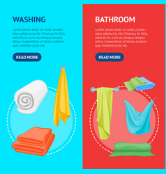 cartoon color folded towels for bathroom banner vector image