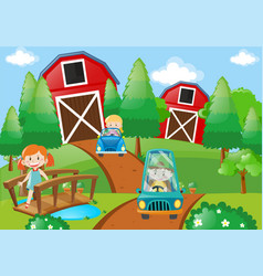 Children driving cars in the farm vector