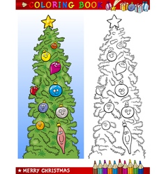 Christmas tree for coloring book vector