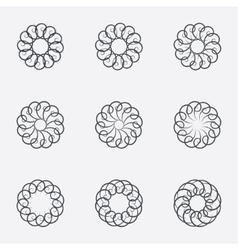 Circle geometric ornaments spirographs set vector