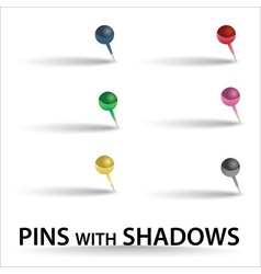 color pins with shadow eps10 vector image