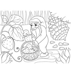 coloring cartoon scene dwarf in the forest vector image