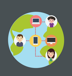Concept connecting people with technology vector