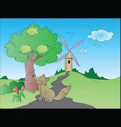 Curious fox on path leading towards windmill vector